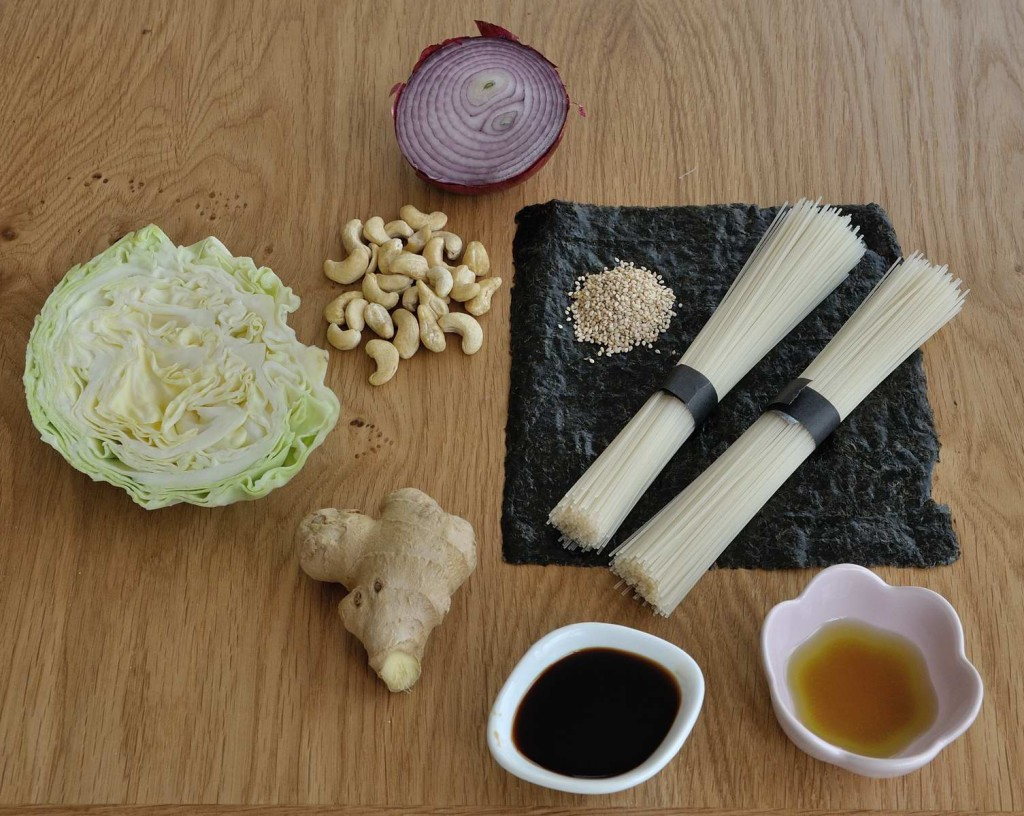 Asian style rice noodles ingredients