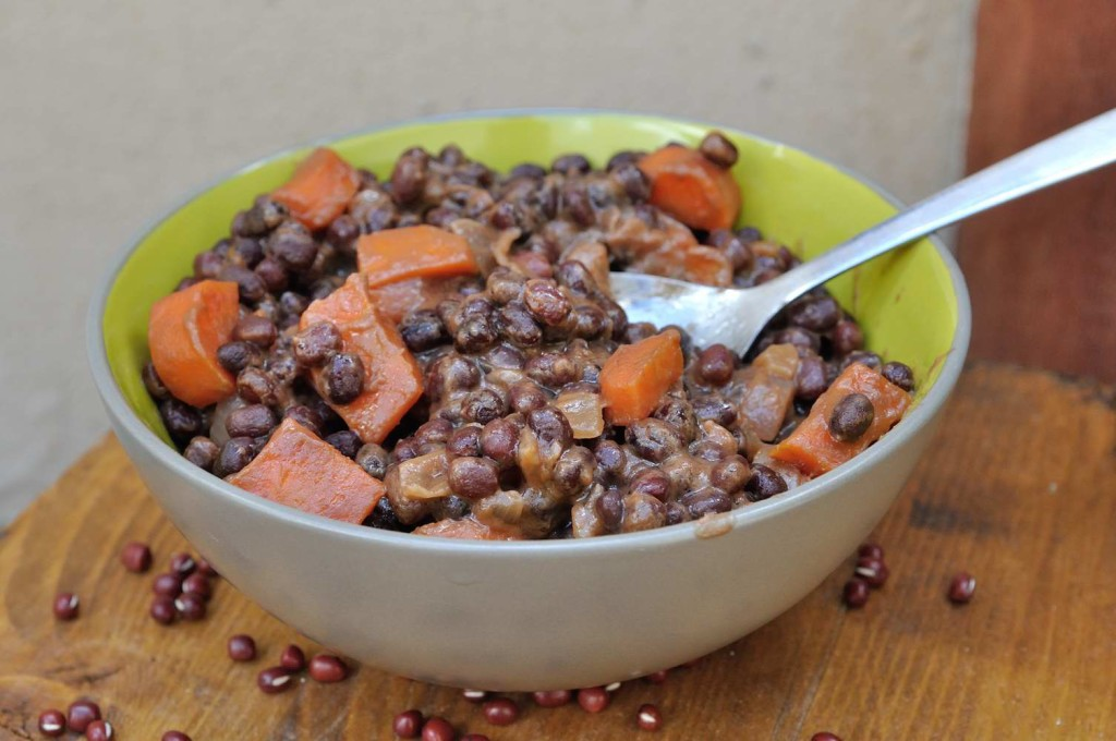 Sweet and Savory Soy Peanut Butter Maple Cooked Adzuki beans
