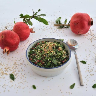 Hemp seeds, crunchy puffed quinoa, and pomegranate seeds Tabouli salad (Gluten Free)