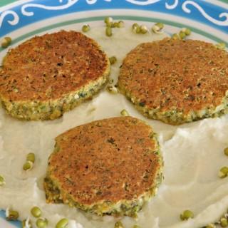 Mung Bean Patties Over Cauliflower Cream