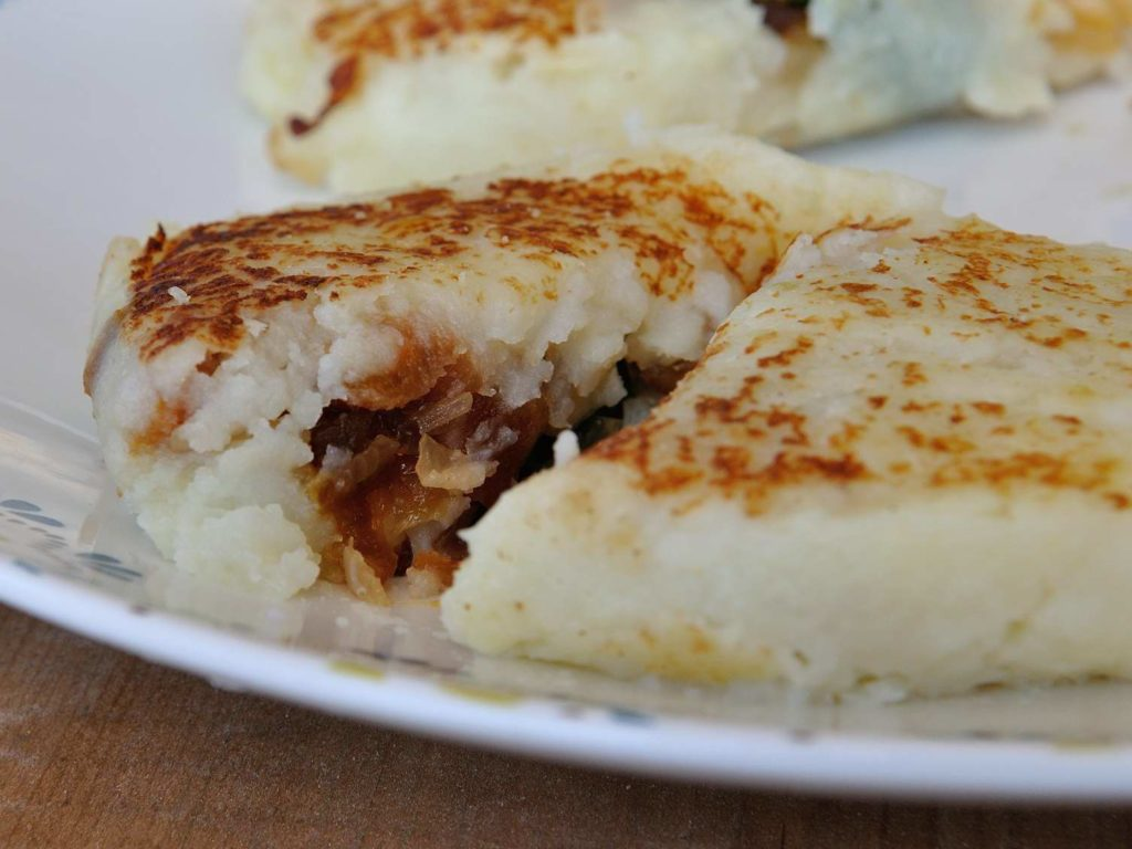 Potato Patties Stuffed With Onions, Dried Apricots and Pinenuts