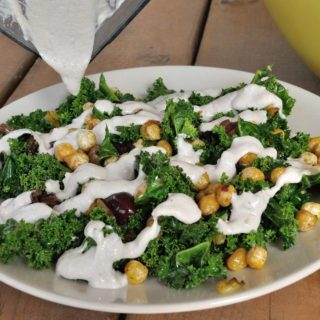 Kale and Chickpeas Salad with Creamy Cashew Gravy