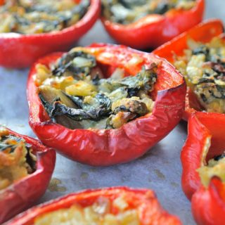 Red Pepper Boats Filled With Chard
