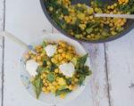 סלט חם של חומוס ומנגולד (או תרד)